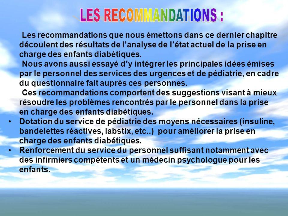 LES RECOMMANDATIONS :