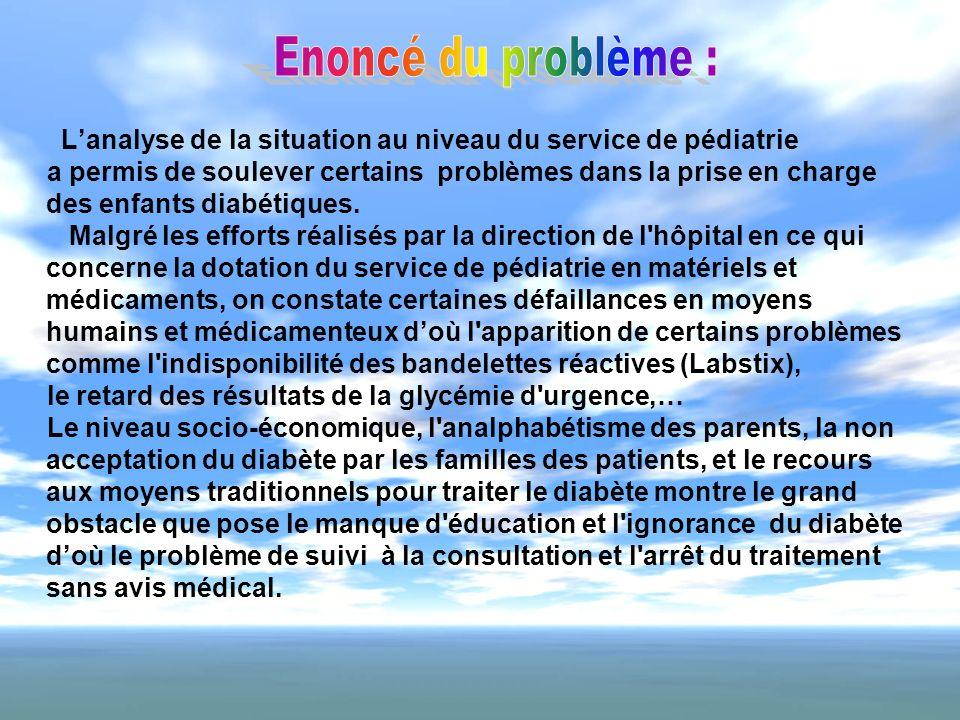 Enoncé du problème :L'analyse de la situation au niveau du service de pédiatrie.