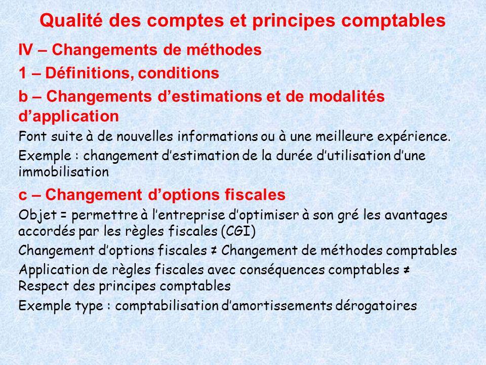 Qualité des comptes et principes comptables