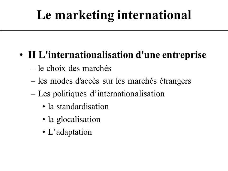 Le marketing international