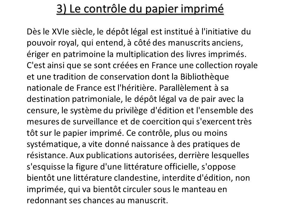 3) Le contrôle du papier imprimé