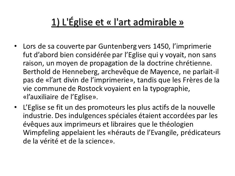 1) L Église et « l art admirable »