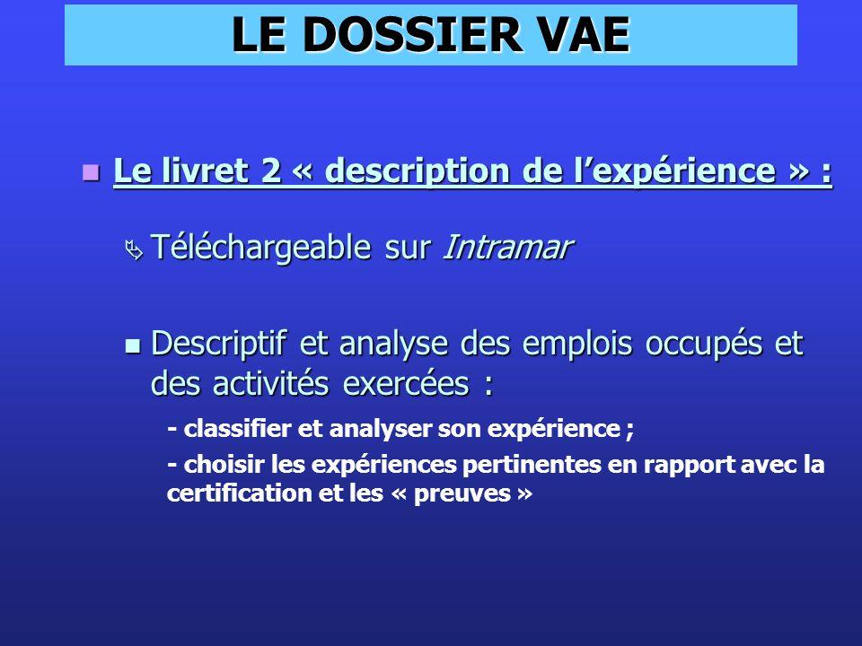 LE DOSSIER VAE Le livret 2 « description de l'expérience » :