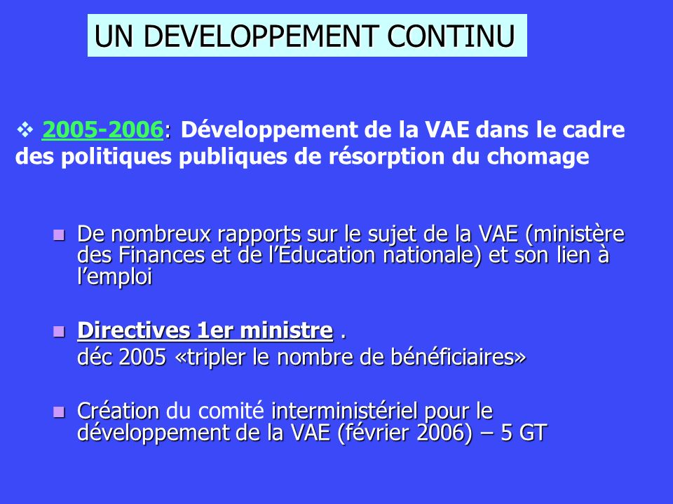 UN DEVELOPPEMENT CONTINU
