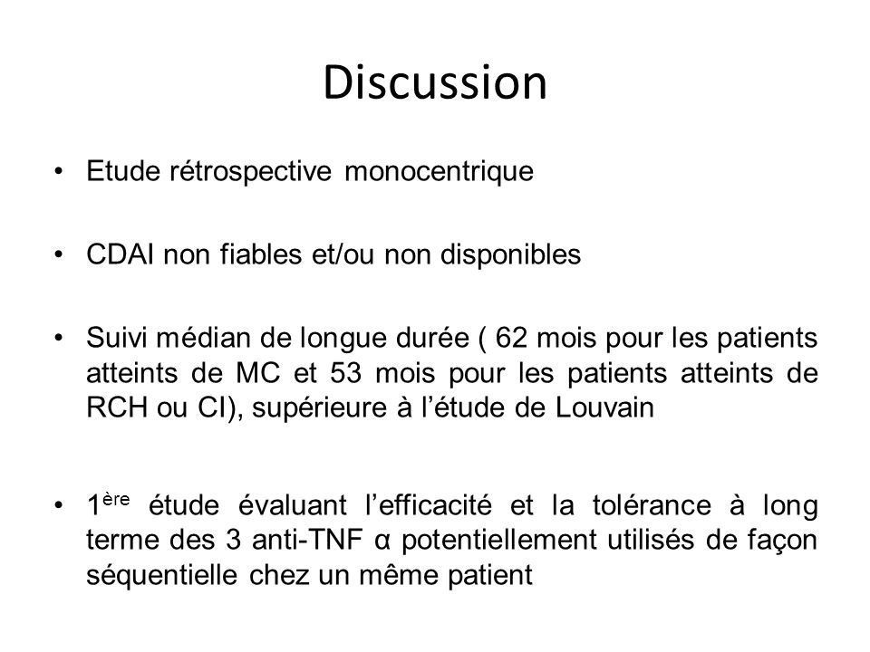 Discussion Etude rétrospective monocentrique