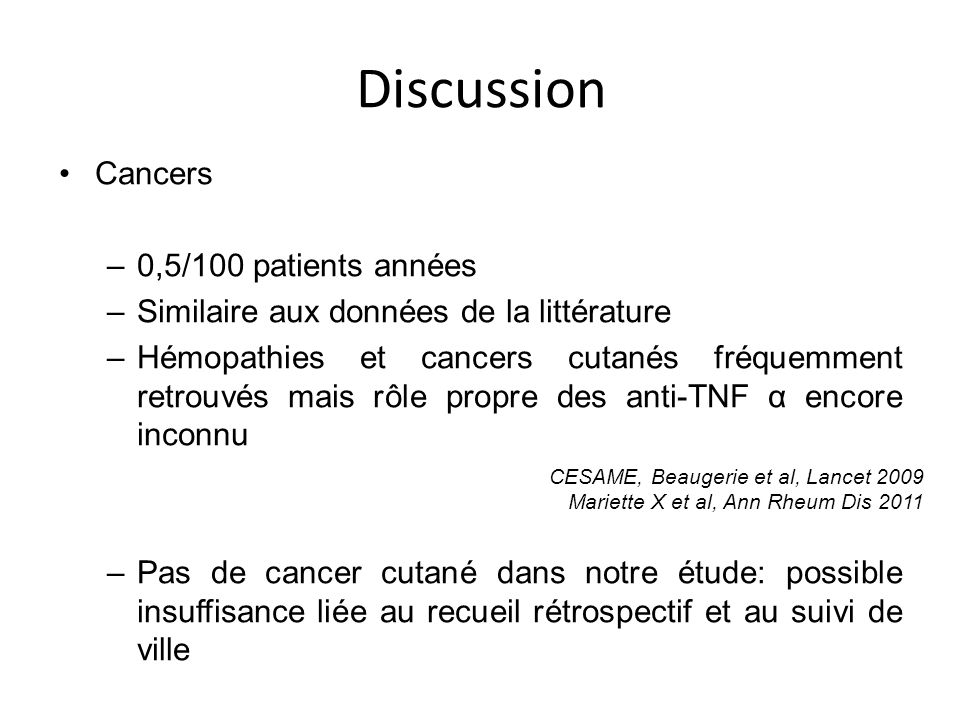 Discussion Cancers 0,5/100 patients années