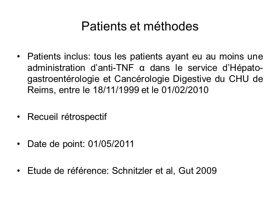 Patients et méthodes