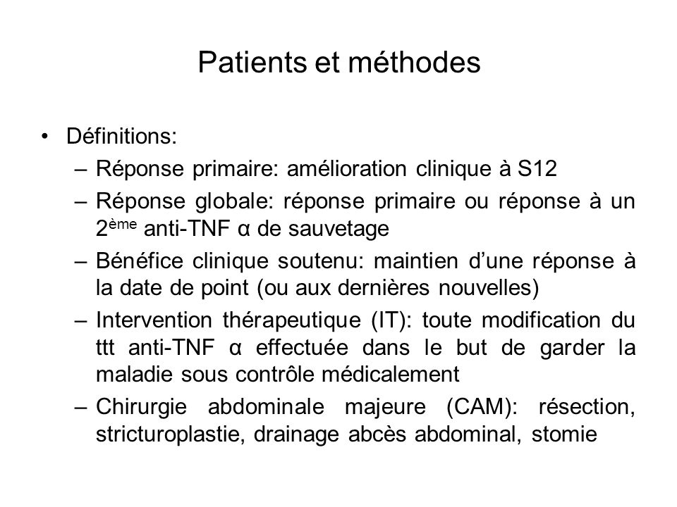 Patients et méthodes Définitions: