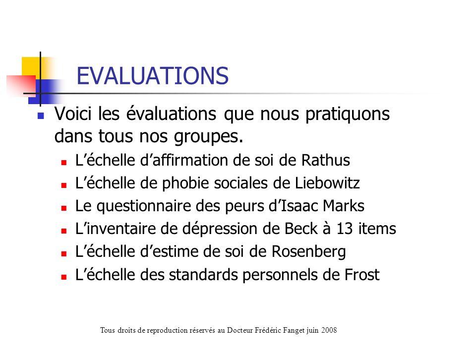EVALUATIONSVoici les évaluations que nous pratiquons dans tous nos groupes. L'échelle d'affirmation de soi de Rathus.