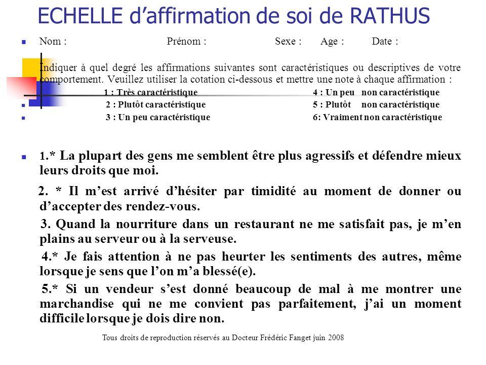 ECHELLE d'affirmation de soi de RATHUS