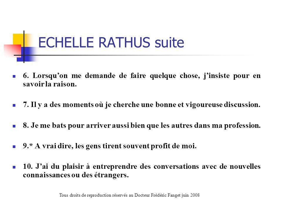 ECHELLE RATHUS suite 6. Lorsqu'on me demande de faire quelque chose, j'insiste pour en savoir la raison.