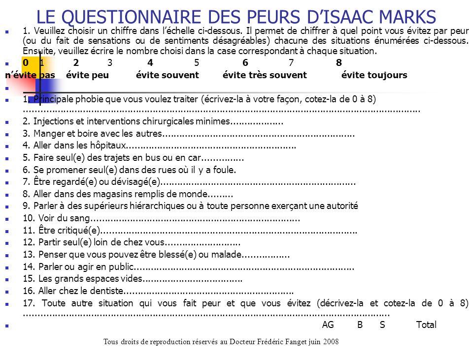 LE QUESTIONNAIRE DES PEURS D'ISAAC MARKS