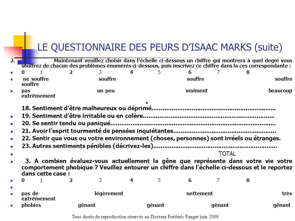 LE QUESTIONNAIRE DES PEURS D'ISAAC MARKS (suite)