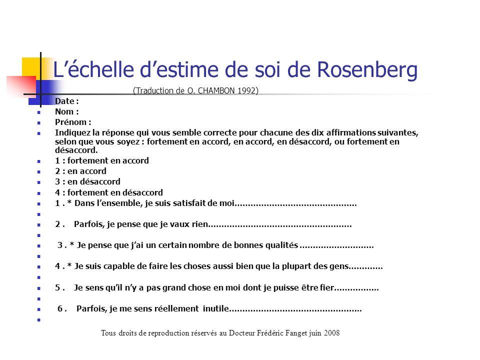 L'échelle d'estime de soi de Rosenberg
