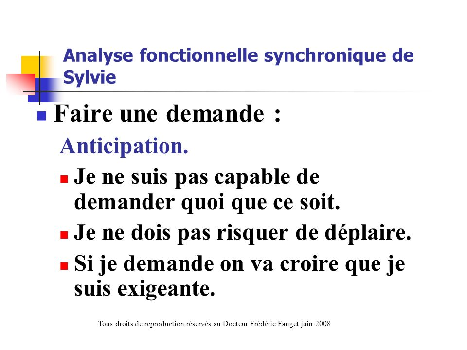 Analyse fonctionnelle synchronique de Sylvie