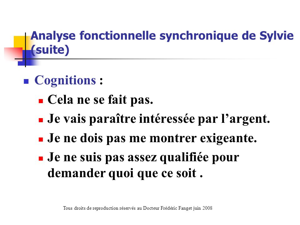Analyse fonctionnelle synchronique de Sylvie (suite)