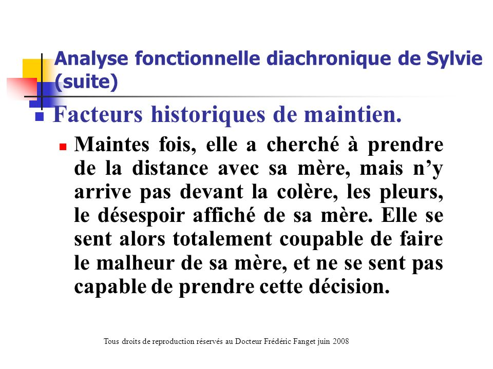 Analyse fonctionnelle diachronique de Sylvie (suite)