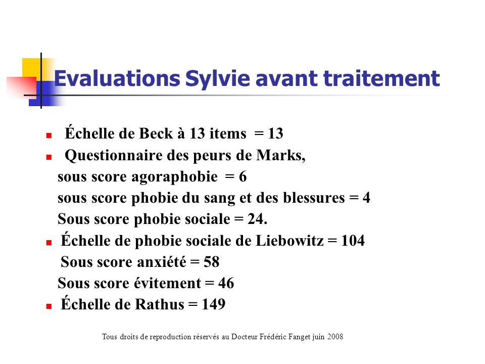 Evaluations Sylvie avant traitement