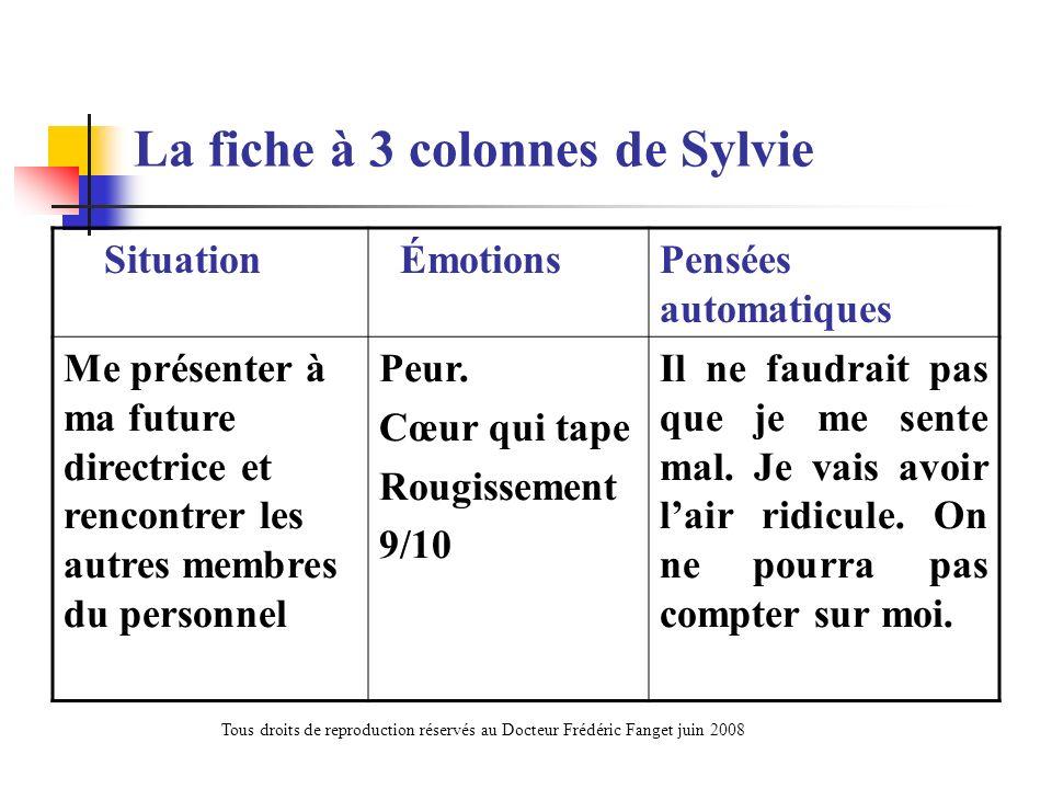 La fiche à 3 colonnes de Sylvie