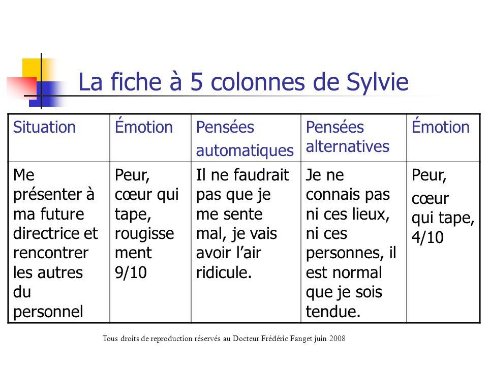 La fiche à 5 colonnes de Sylvie
