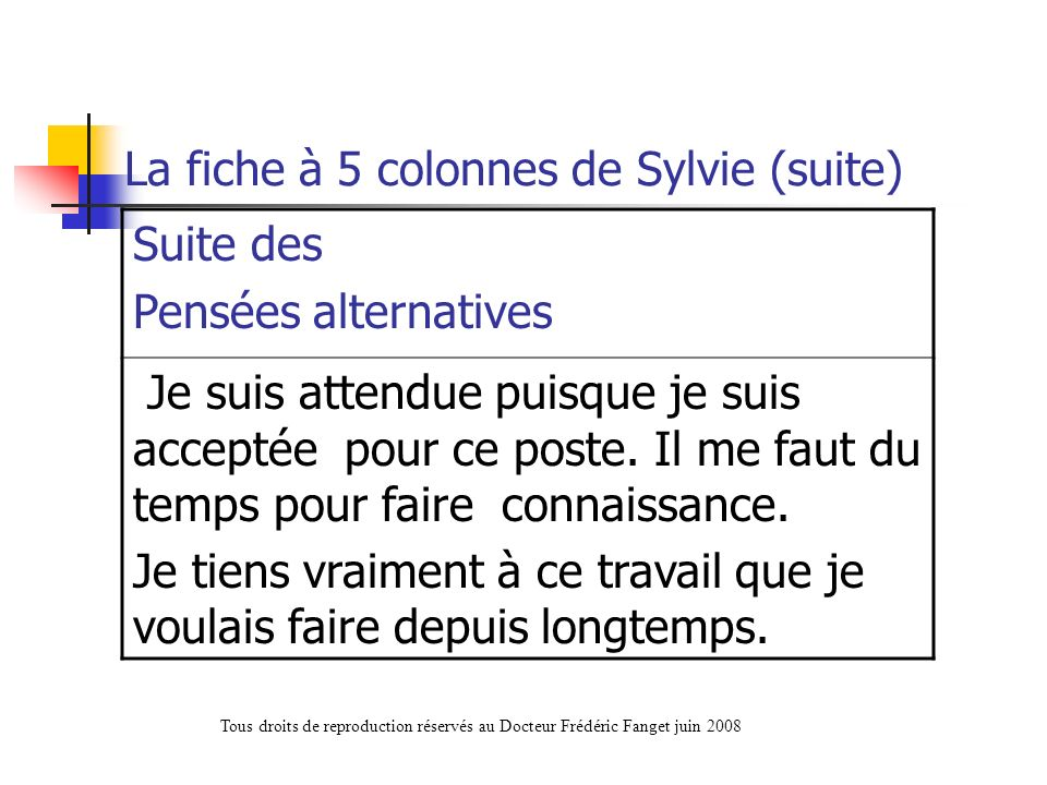 La fiche à 5 colonnes de Sylvie (suite)