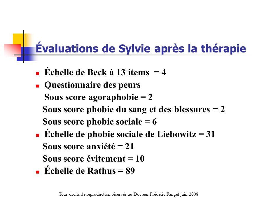 Évaluations de Sylvie après la thérapie
