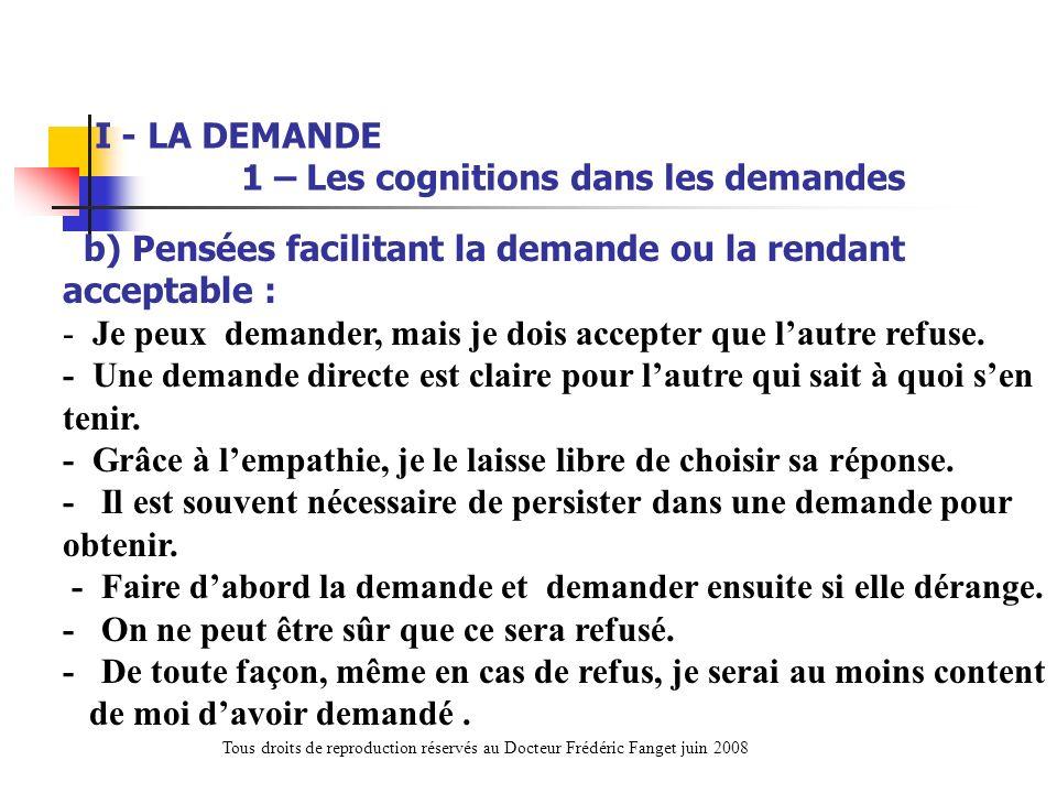 I - LA DEMANDE 1 – Les cognitions dans les demandes