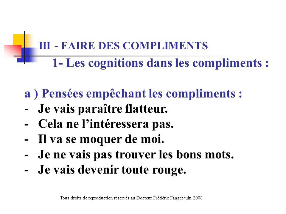 III - FAIRE DES COMPLIMENTS