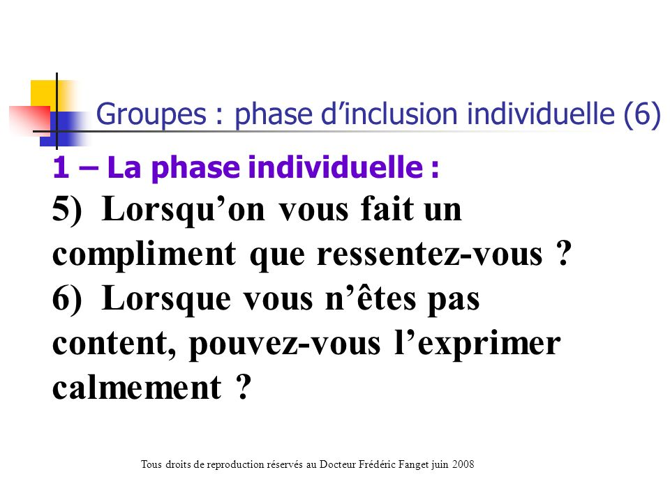 Groupes : phase d'inclusion individuelle (6)