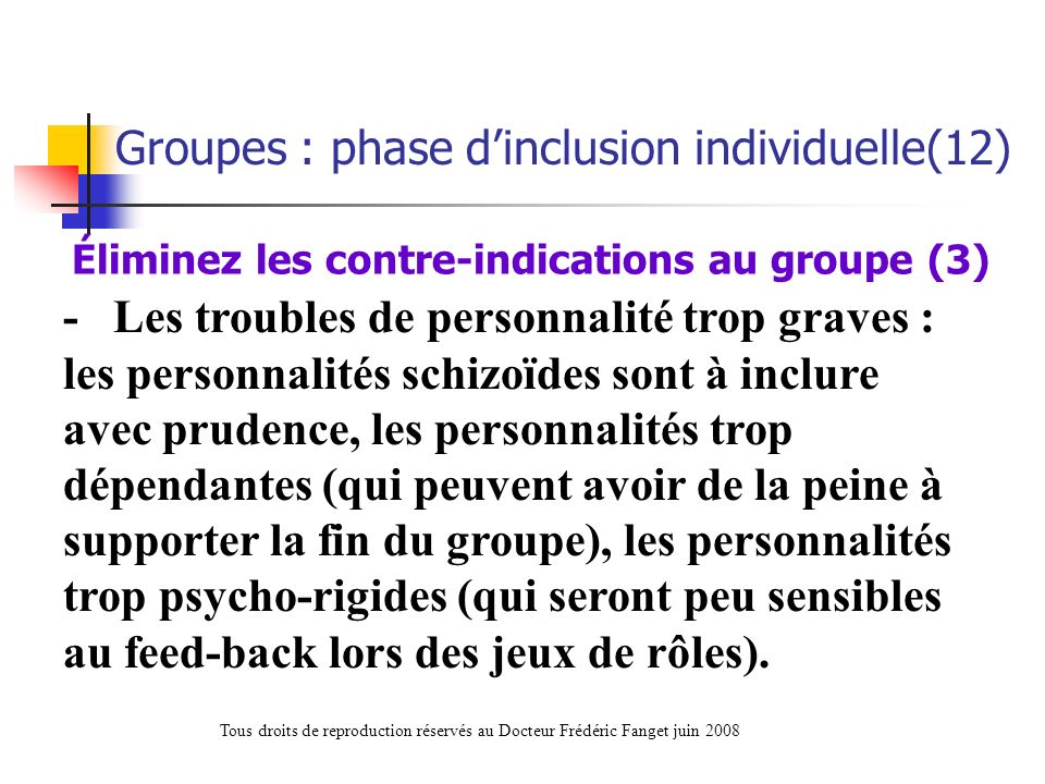 Éliminez les contre-indications au groupe (3)