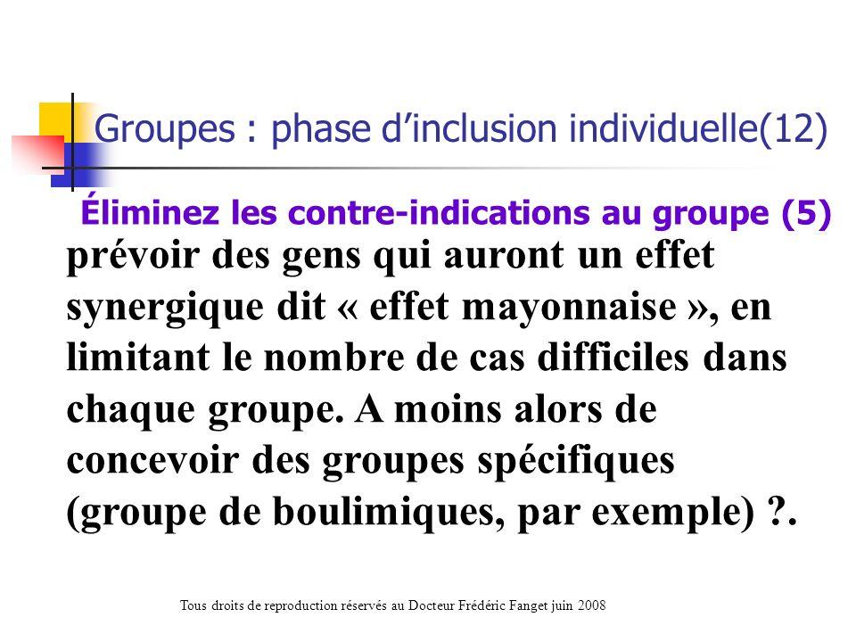 Éliminez les contre-indications au groupe (5)