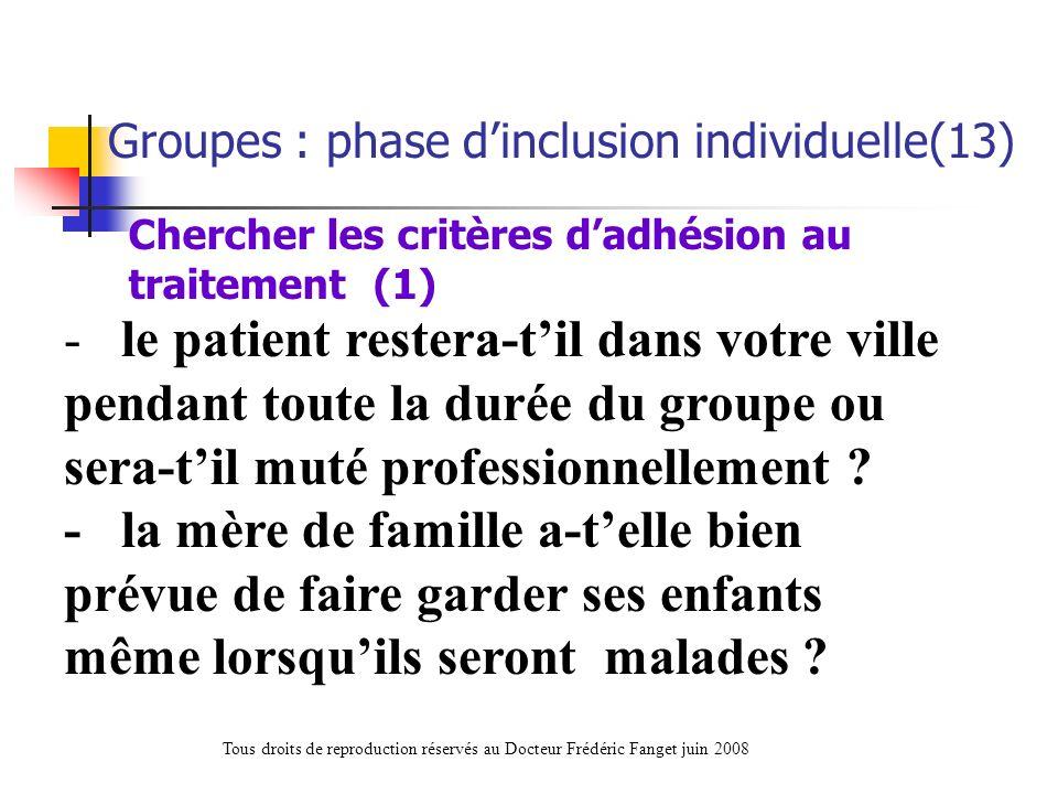 Chercher les critères d'adhésion au traitement (1)