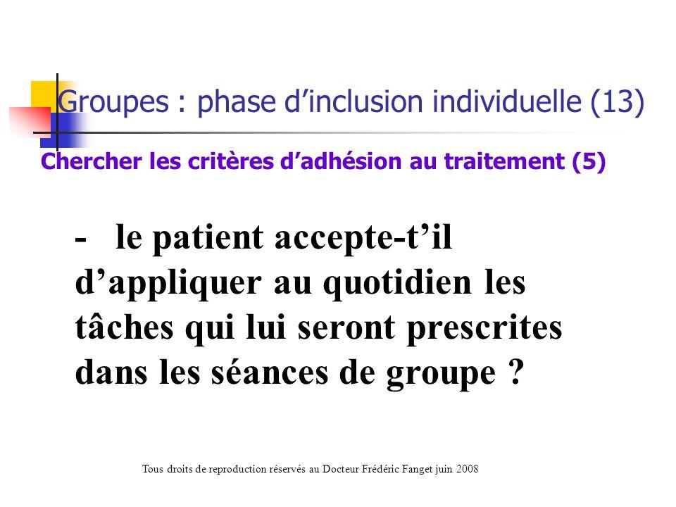 Chercher les critères d'adhésion au traitement (5)