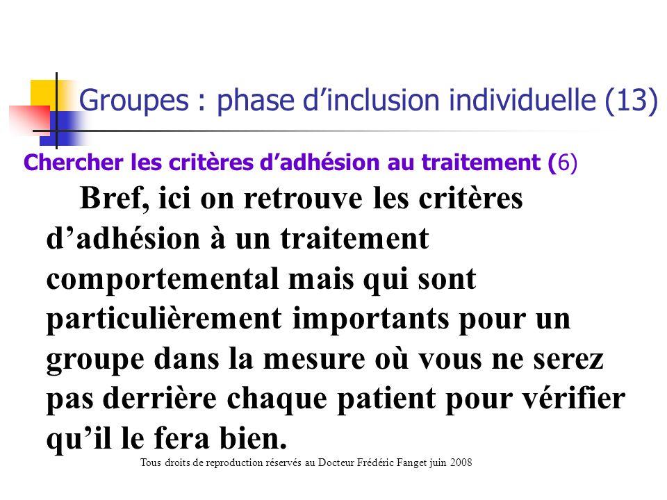 Chercher les critères d'adhésion au traitement (6)