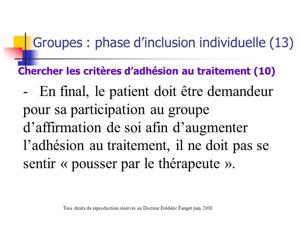 Chercher les critères d'adhésion au traitement (10)
