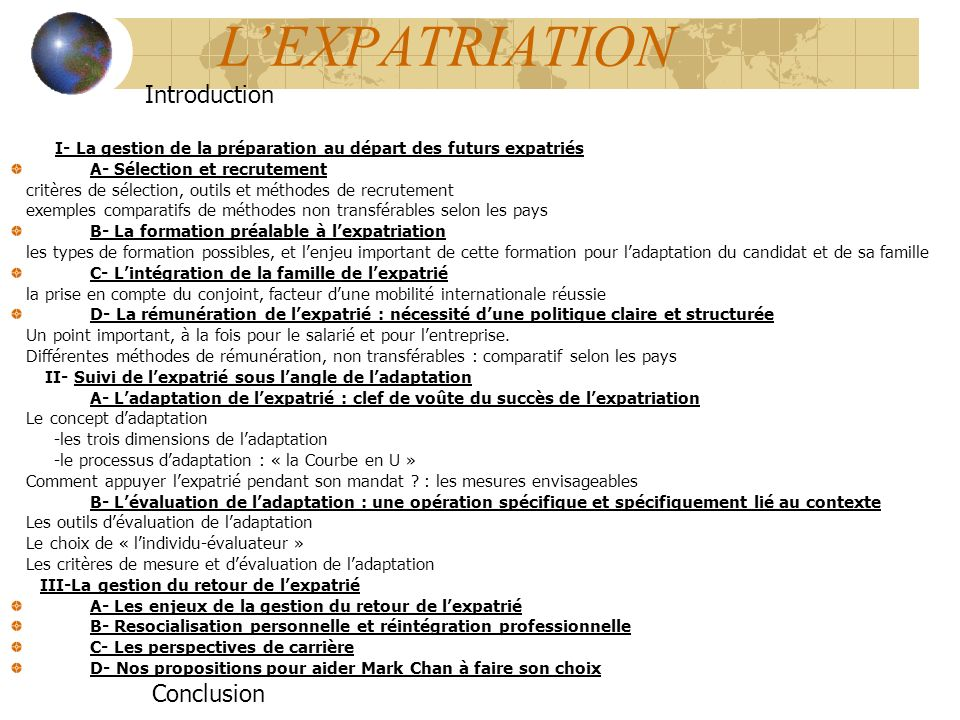 L'EXPATRIATION Introduction Conclusion