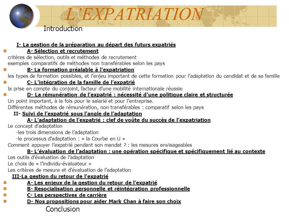 L'EXPATRIATION Introduction Conclusion