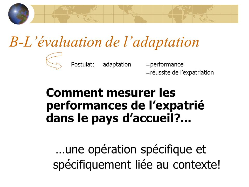 B-L'évaluation de l'adaptation
