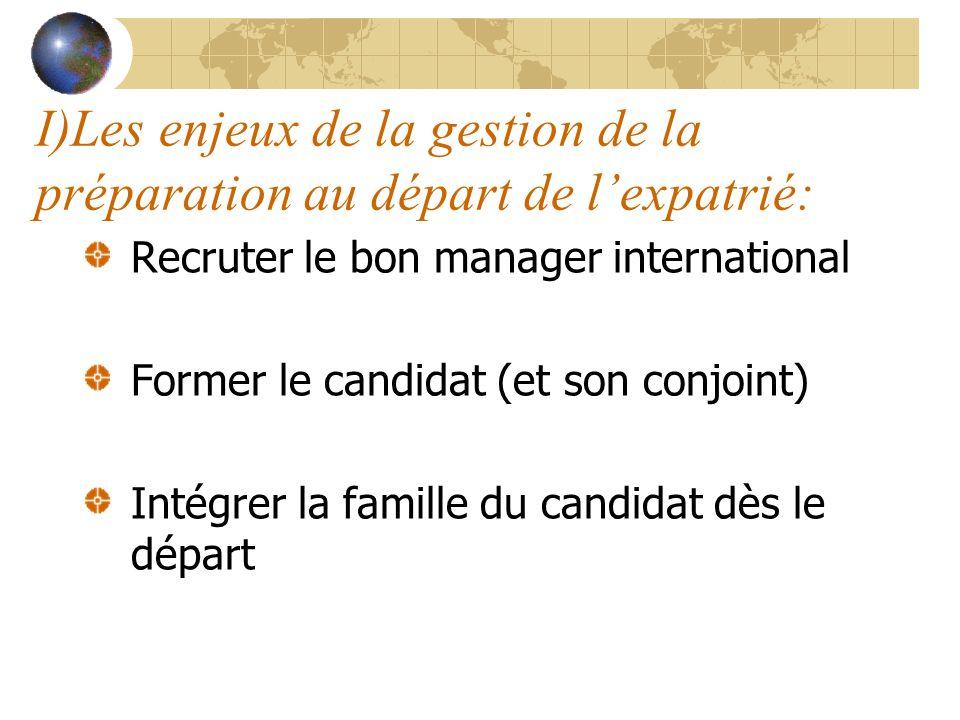I)Les enjeux de la gestion de la préparation au départ de l'expatrié: