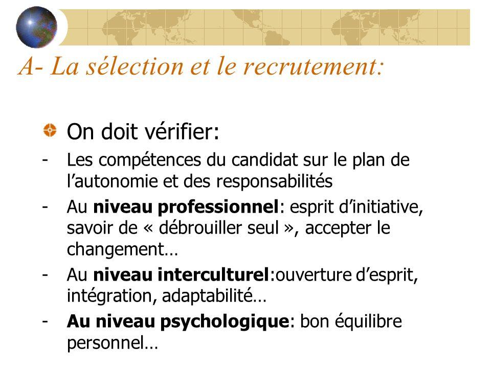 A- La sélection et le recrutement: