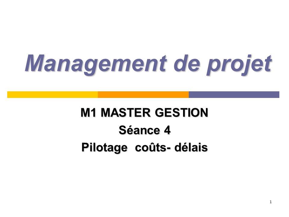 M1 MASTER GESTION Séance 4 Pilotage coûts- délais