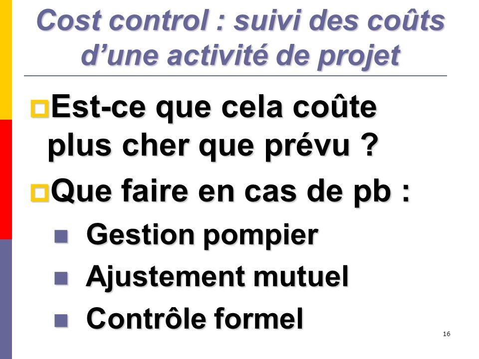Cost control : suivi des coûts d'une activité de projet