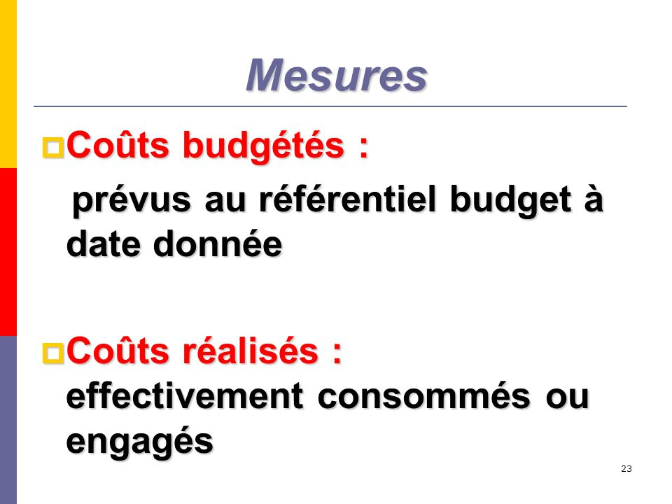 Mesures Coûts budgétés : prévus au référentiel budget à date donnée
