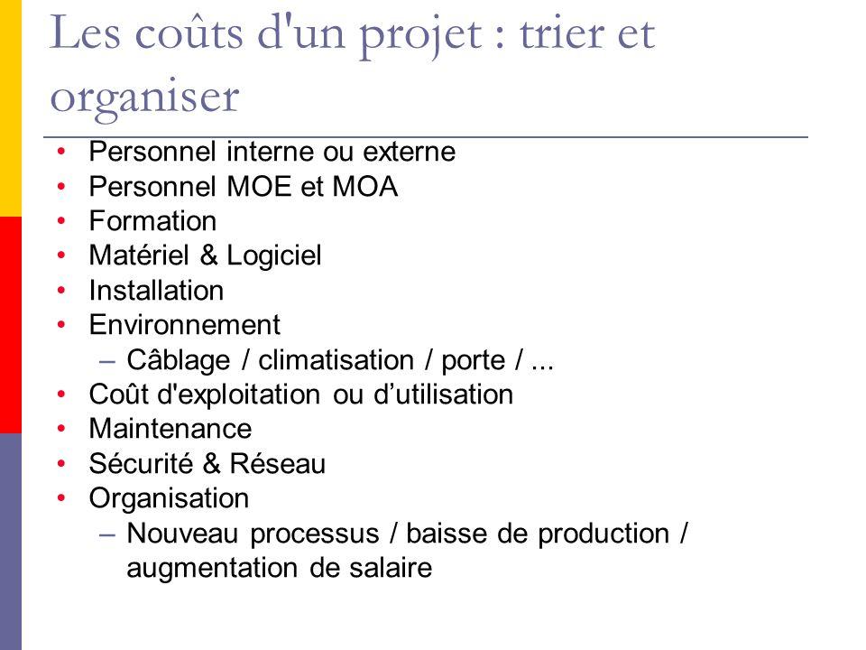 Les coûts d un projet : trier et organiser