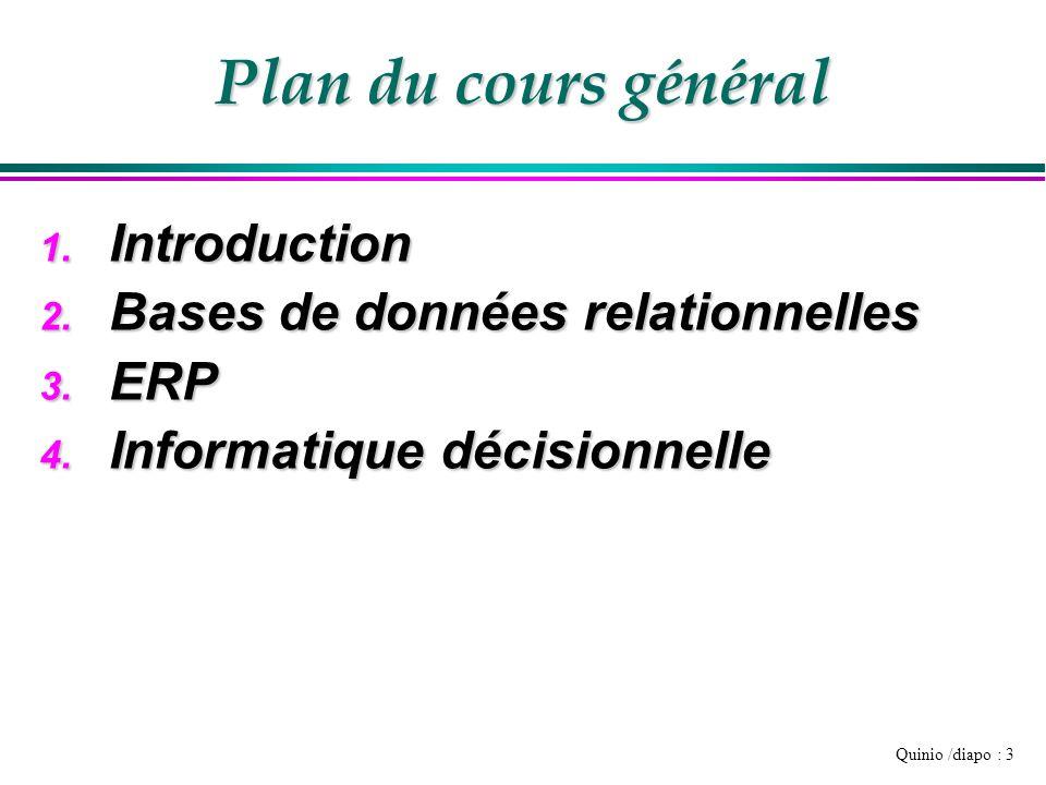 Plan du cours général Introduction Bases de données relationnelles ERP