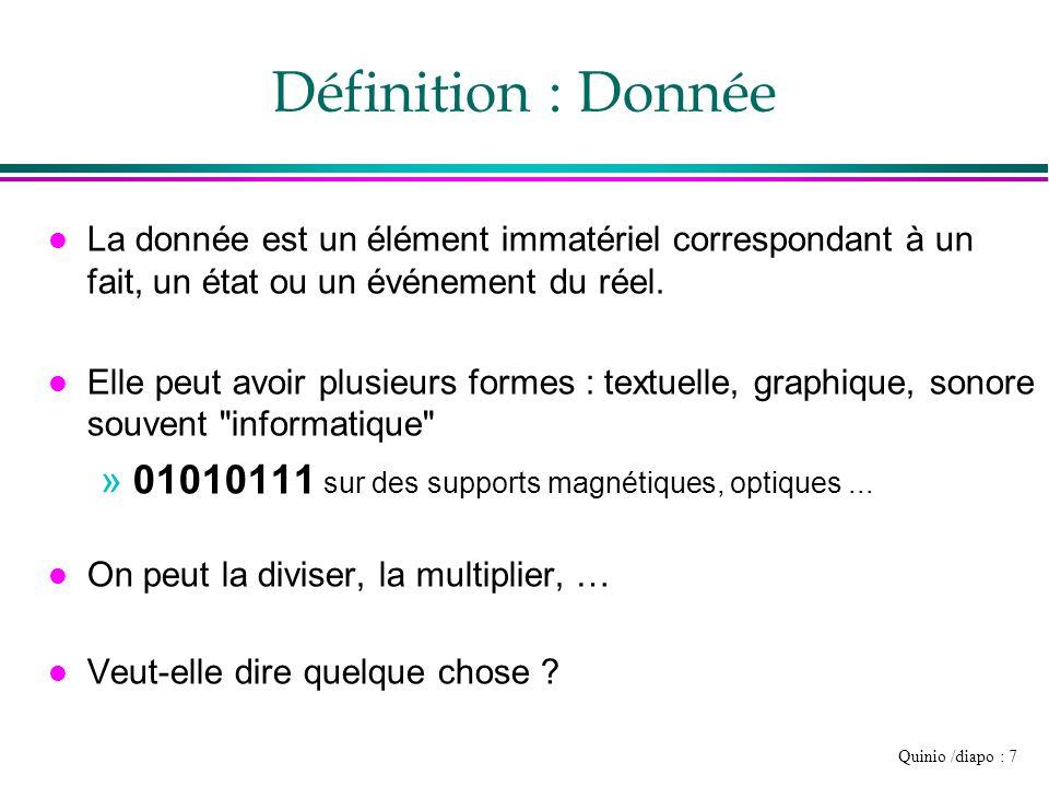 Définition : Donnée La donnée est un élément immatériel correspondant à un fait, un état ou un événement du réel.