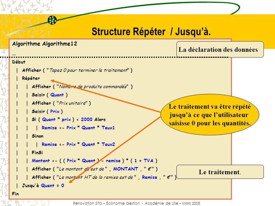 Structure Répéter / Jusqu'à.