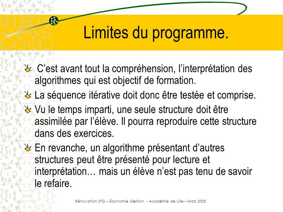 Rénovation STG – Économie Gestion - Académie de Lille – Mars 2005
