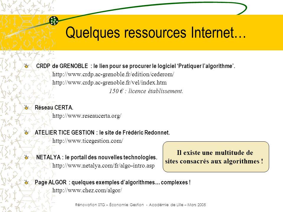 Quelques ressources Internet…