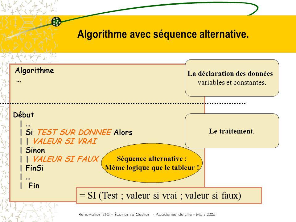 Algorithme avec séquence alternative.